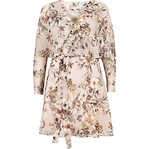 Cream floral wrap cape dress