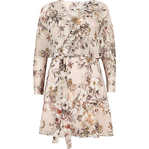 Robe cape cache-cœur à fleurs crème