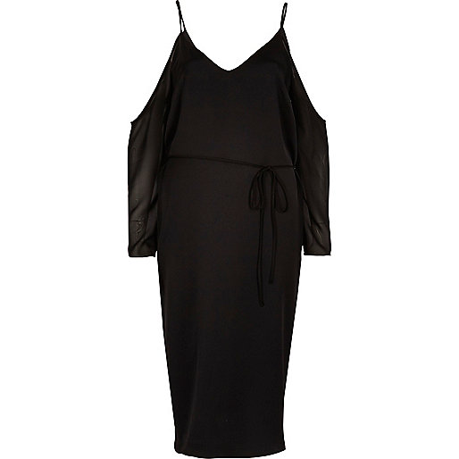 Black cold shoulder midi slip dress