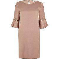 Pink gold trim flared sleeve dress