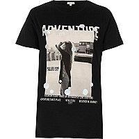 T-shirt noir à imprimé métallisé