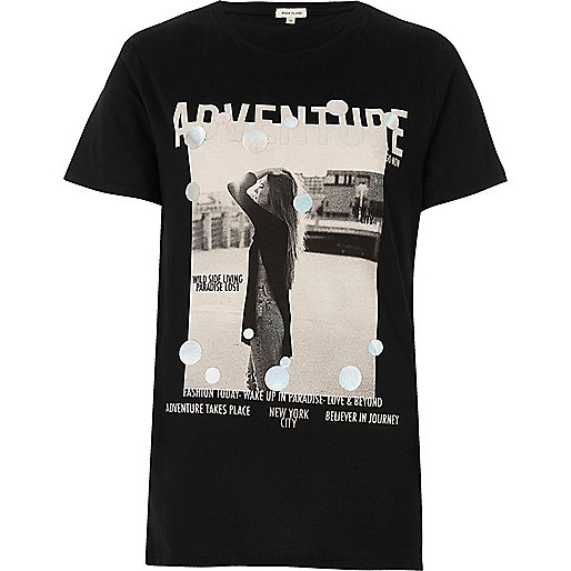 Black metallic print T-shirt