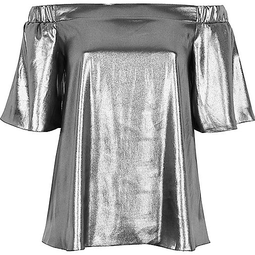 Bardot-Oberteil in Silber-Metallic