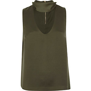 Khaki green satin choker top