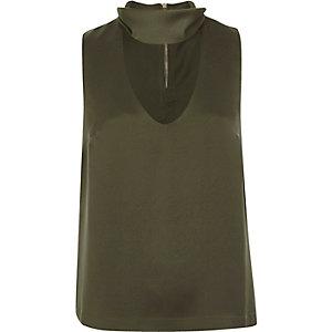 Khaki green satin choker top