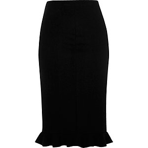 Black jersey frill hem pencil skirt