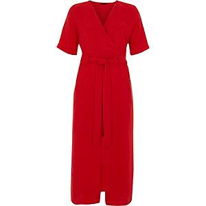 Bright red wrap shirt midi dress