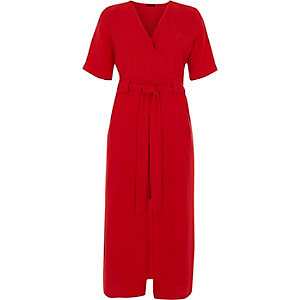 Bright red wrap shirt midi dress