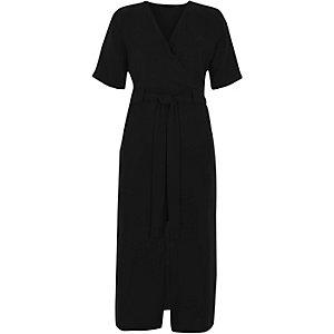 Black wrap shirt midi dress