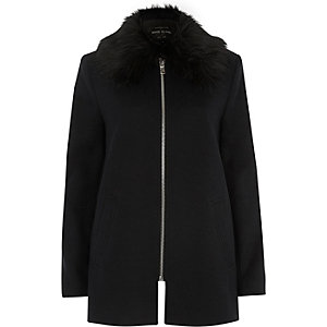 Navy blue faux fur collar swing coat