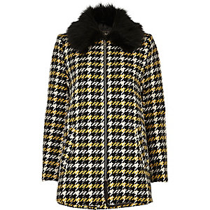 Yellow check faux fur collar swing coat