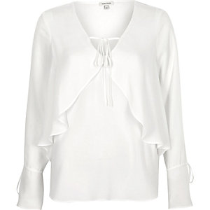 White frill layer blouse