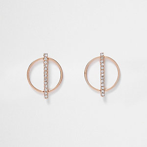 Rose gold tone circle diamante earrings