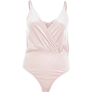 Light pink draped velvet bodysuit