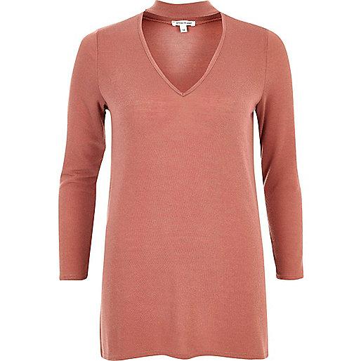 Light pink knit choker top