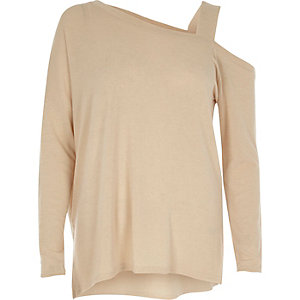 Cream asymmetric one shoulder knit top