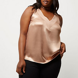 Plus rose gold metallic T-bar cami top