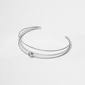 Silver tone jewel cuff bracelet