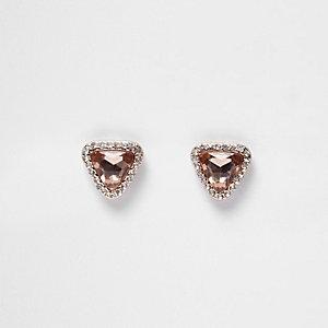 Rose gold tone gem diamante stud earrings