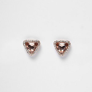 Rose gold tone gem diamante stud earrings