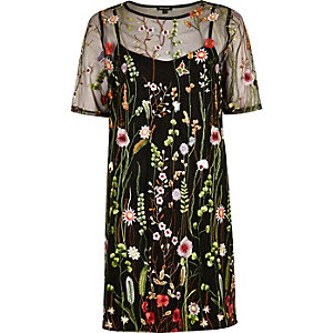 Black floral embroidered T-shirt dress