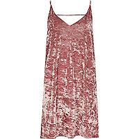 Pink marble velvet mini slip dress