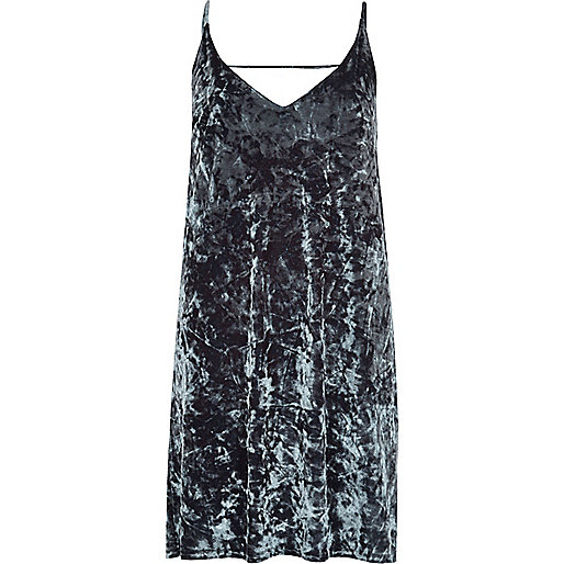 Grey marble velvet cami dress