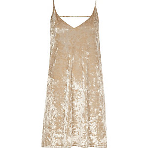 Gold marble velvet mini slip dress