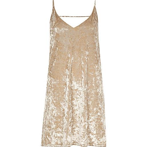 Gold marble velvet mini slip dress