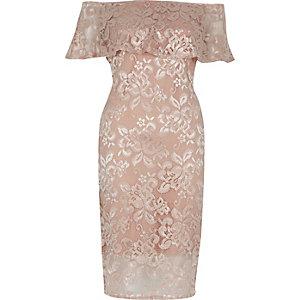 Nude lace bardot bodycon dress