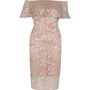 Nude lace bardot bodycon dress