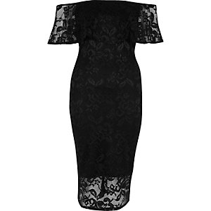 Black lace bardot bodycon dress