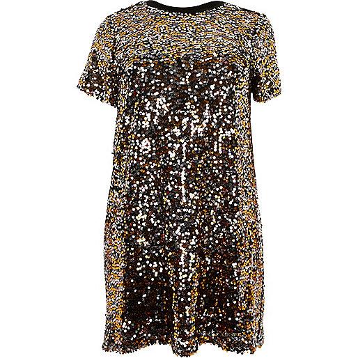 Plus gold sequin T-shirt dress