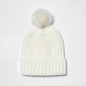 Cream knit bobble hat