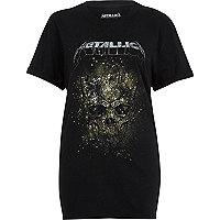T-shirt imprimé Metallica noir coupe boyfriend