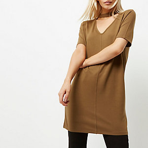 Oversized-T-Shirt in Khaki, Petite