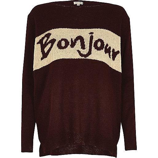 Burgundy knit 'Bonjour' jumper