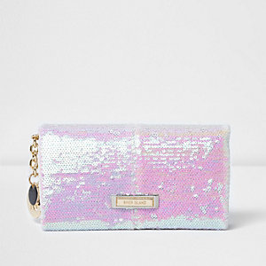 White sequin foldover purse