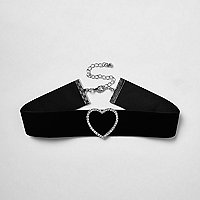 Black diamanté ​heart choker