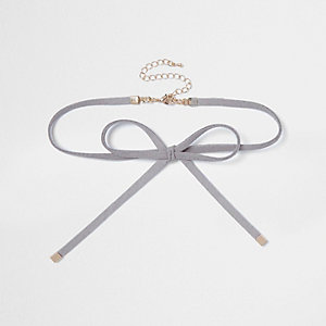Grey suede bow choker necklace