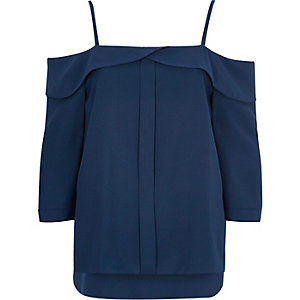 Blue placket cold shoulder top