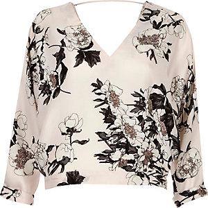 Pink floral print batwing top