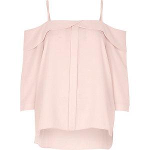 Light pink placket cold shoulder top