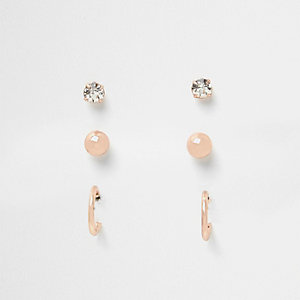 Rose gold tone mixed stud earring pack