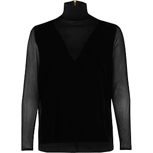 Black mesh velvet turtleneck top