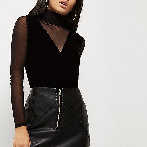 Black mesh velvet turtleneck top