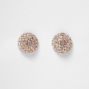 Rose gold tone stone stud earrings