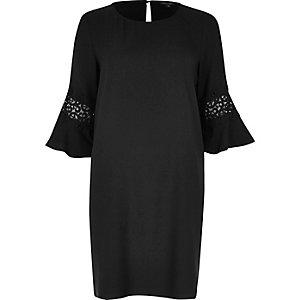 Black lace trim flared swing dress