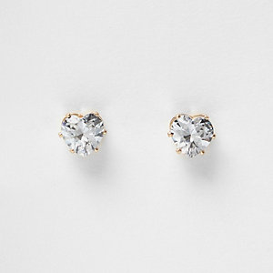 Crystal stud heart stud earrings