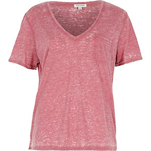 Red V-neck burnout T-shirt